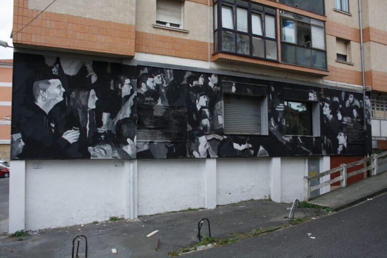 Giulianova, Edoardo Ettorre dipinge una parete di un centro culturale nei Paesi Baschi