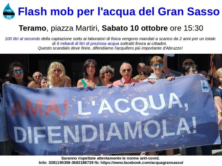 Flash mob per l'acqua del Gran Sasso: domani in piazza Martiri a Teramo