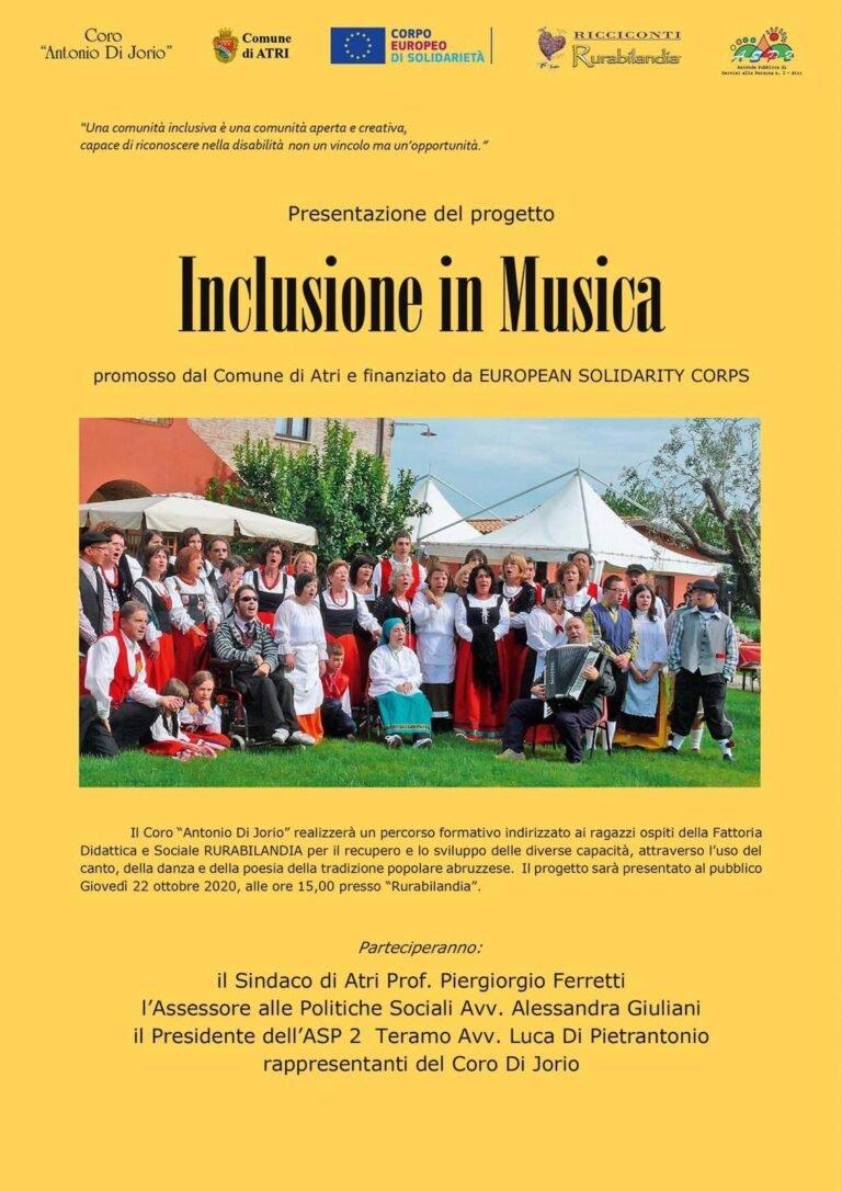 """Atri, """"Inclusione in musica"""": presentato il percorso formativo per i ragazzi di Rurabilandia"""