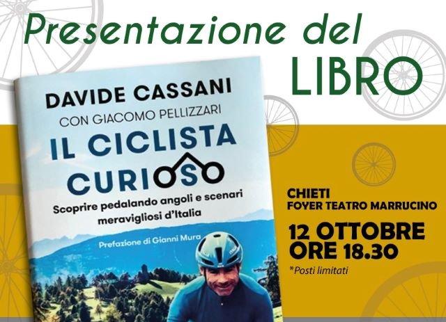 """Chieti, il ct della nazionale di ciclismo Davide Cassani presenta il suo libro """"Il ciclista curioso"""" al Teatro Marrucino"""