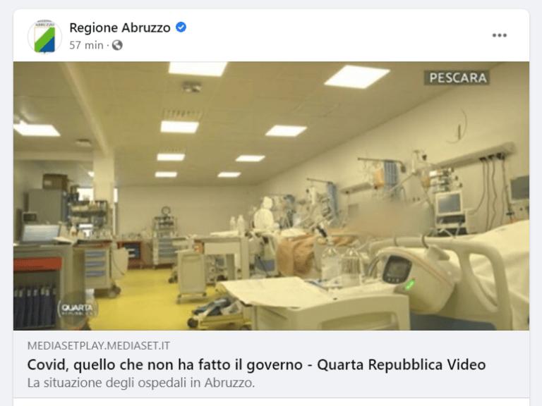 Il post (poi rimosso) sulla pagina Facebook della Regione Abruzzo che fa discutere
