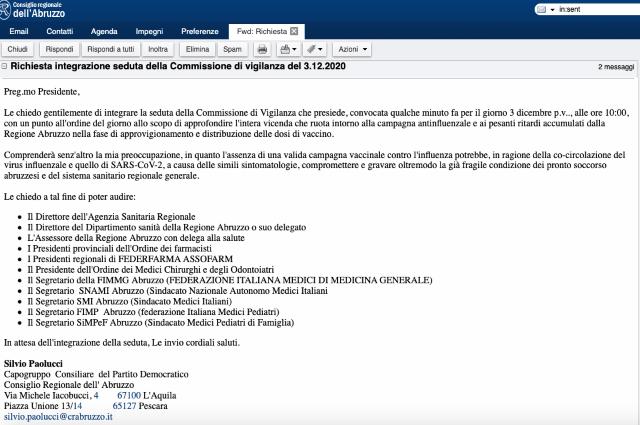 Sospensione vaccini Asl Chieti, Paolucci: 'Situazione inaccettabile. Chiesta seduta della Commissione vigilanza'