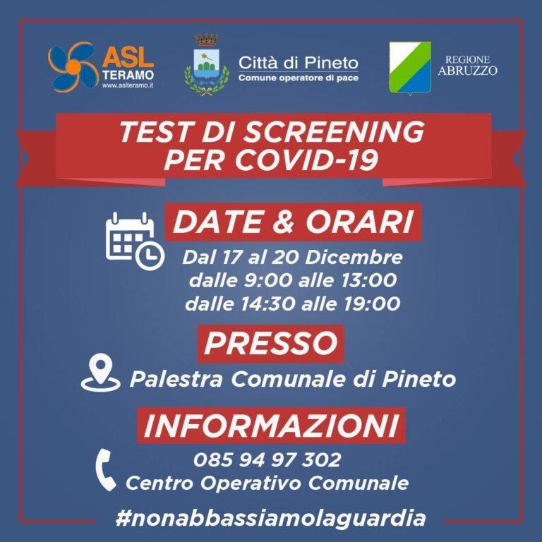 Pineto, parte lo screening al Covid: test gratuiti dal 17 al 20 in Palestra comunale
