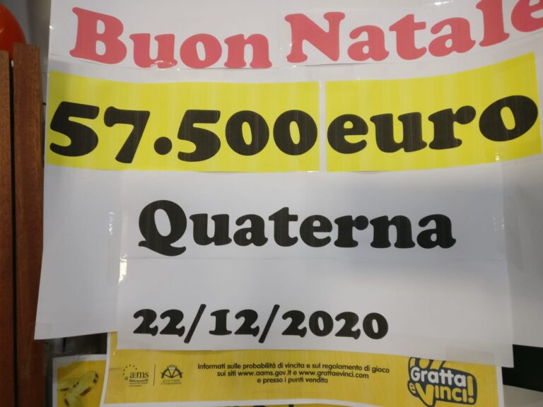 Tortoreto, quaterna da oltre 57mila euro alla ricevitoria Trieste