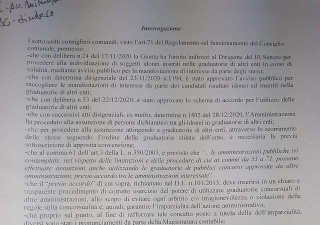 Comune di Chieti, ultime assunzioni: interrogazione dei gruppi di opposizione
