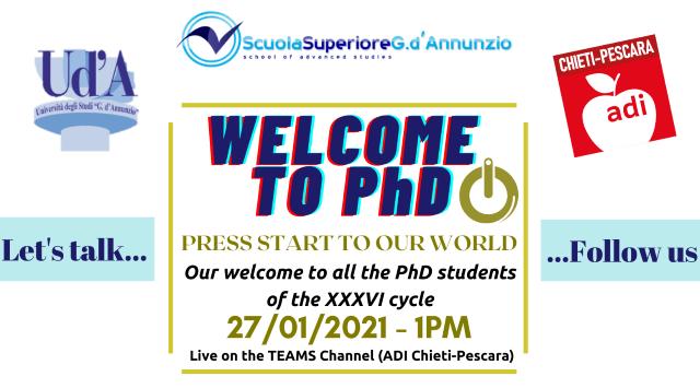 Il benvenuto della 'd'Annunzio' di Chieti-Pescara ai Dottorandi del XXXVI Ciclo