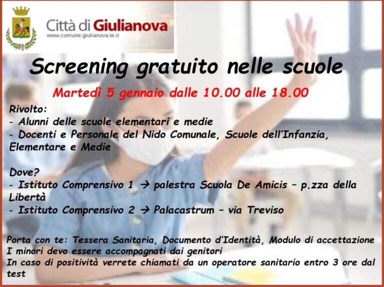 Giulianova, ritorno sui banchi: campagna di screening sulla popolazione scolastica