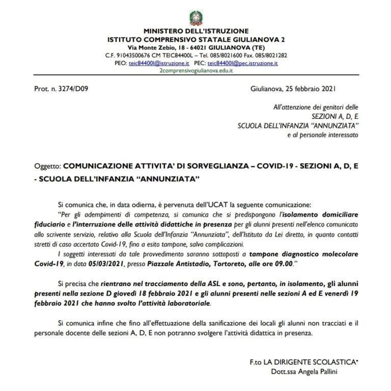 Covid, in isolamento tre sezioni della scuola dell'infanzia dell'Annunziata a Giulianova