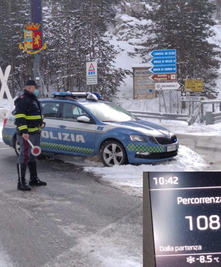 L'Aquila, freddo e neve in Provincia: interventi della Polizia Stradale