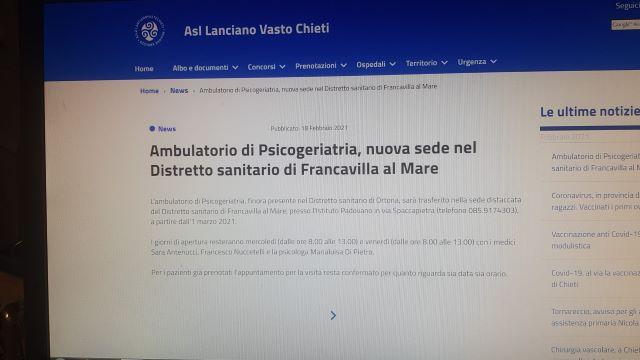 Castiglione: 'Basta svuotare il Distretto Sanitario di Ortona'