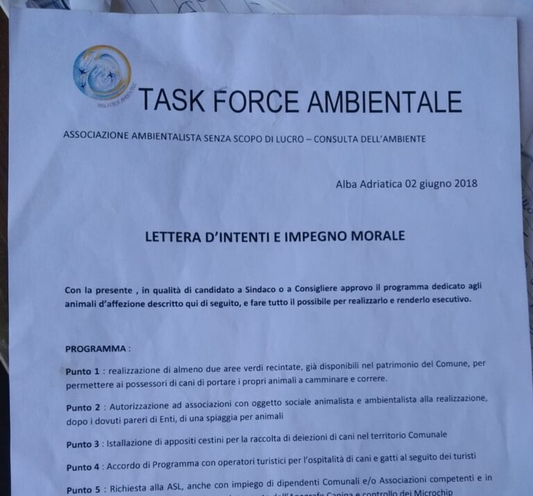 Alba Adriatica, area per cani. Task force: noi non considerati