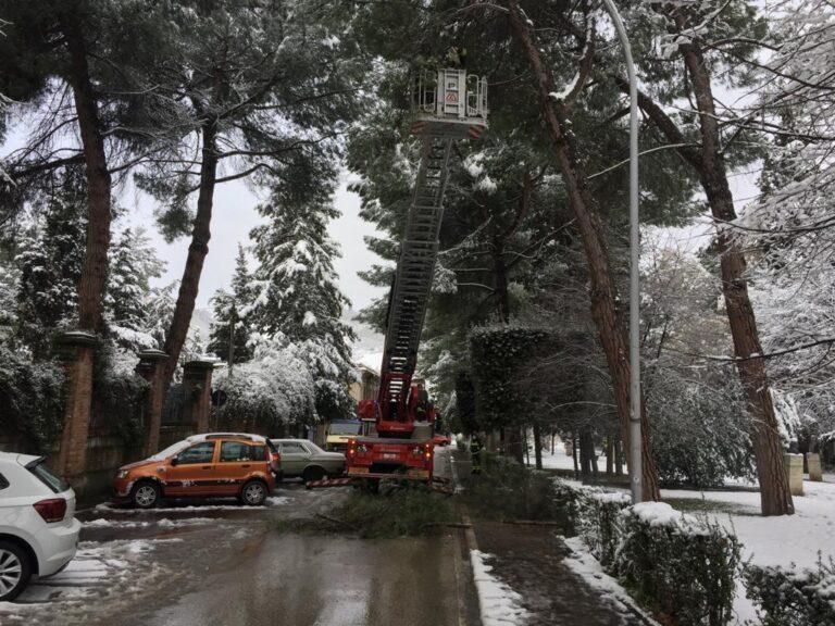 Maltempo Teramo, oltre 20 gli interventi dei vigili del fuoco dopo la nevicata FOTO VIDEO