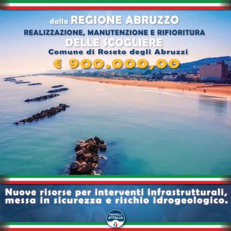 Roseto, FdI: '900mila euro dalla Regione per le scogliere'