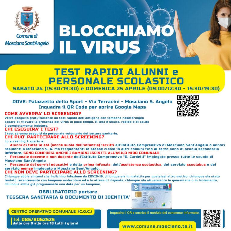 Mosciano, nuovo screening Covid per alunni e personale scolastico