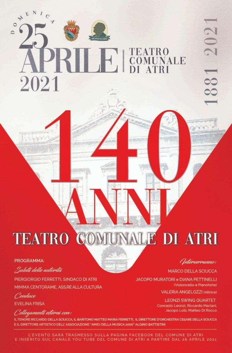 Spettacolo senza pubblico per i 140 anni del Teatro comunale di Atri