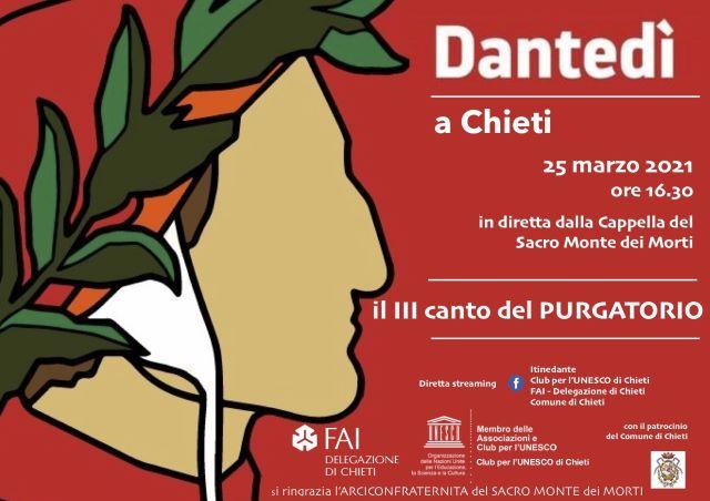 Chieti e il Dantedì, ecco le iniziative per la Giornata nazionale dedicata a Dante Alighieri