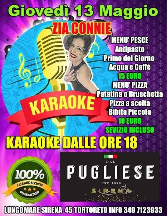 Giovedì 13 maggio Karaoke da DAL PUGLIESE RISTORANTE