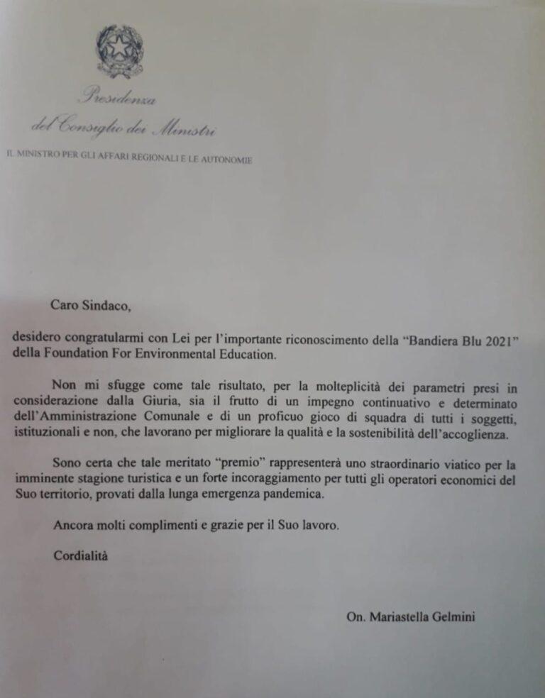 Giulianova, il Ministro Gelmini scrive a Costantini per complimentarsi per la Bandiera Blu