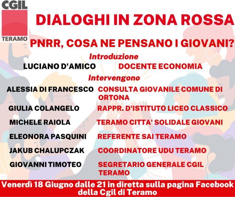 """Cgil Teramo, Dialoghi in zona Rossa: """"Pnrr, cosa ne pensano i giovani?"""""""