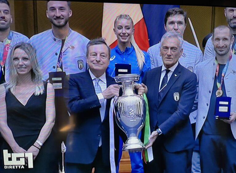 Gaia Sabbatini premiata a Palazzo Chigi con gli azzurri e Berrettini