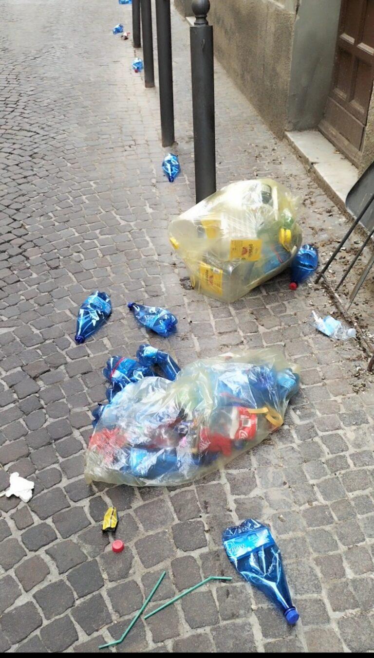 Teramo, rifiuti sparsi su via Getulio: la segnalazione FOTO