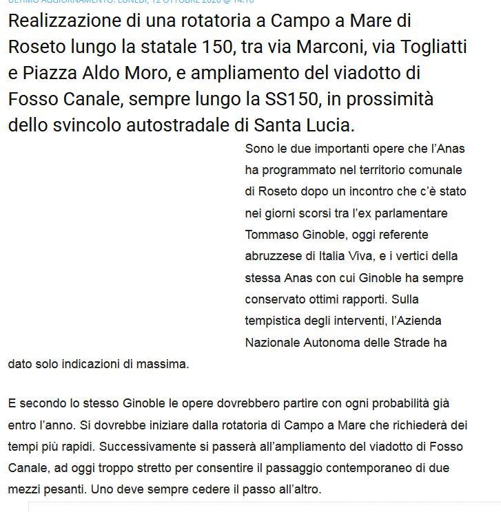 Roseto, lavori sul ponte Fosso Canale: 'il merito è di Tommaso Ginoble'