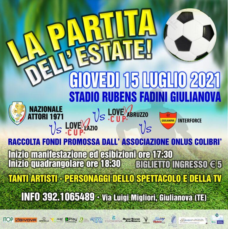 """Partita dell'Estate a Giulianova, la Nazionale Attori scende in campo per il """"Colibrì"""""""