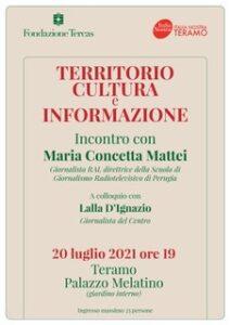 Territorio cultura e informazione: incontro a Palazzo Melatino con la giornalista Rai Maria Concetta Mattei