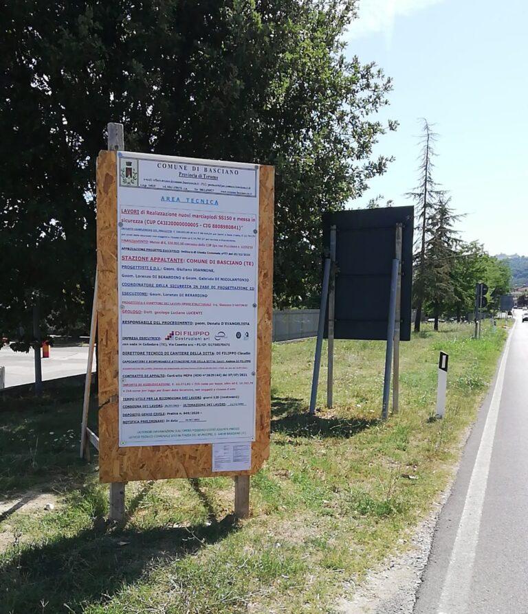 Basciano, iniziati i lavori per un nuovo tratto di marciapiede a Zampitto