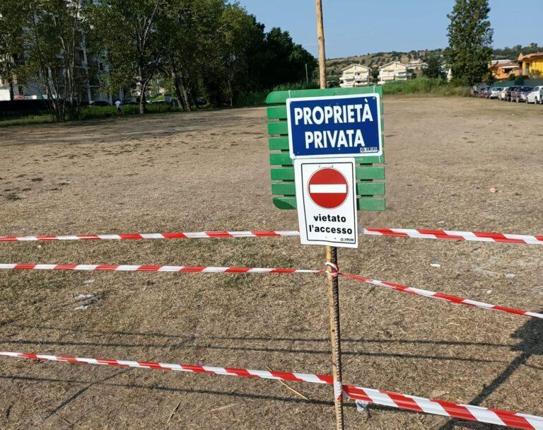 "Tortoreto, area privata ""occupata"" dai camper: ora è stata transennata"