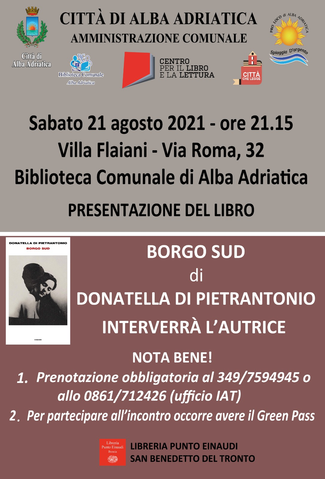 """Alba Adriatica, """"Borgo Sud"""": Donatella Di Pietrantonio presenta il suo libro a Villa Flaiani"""