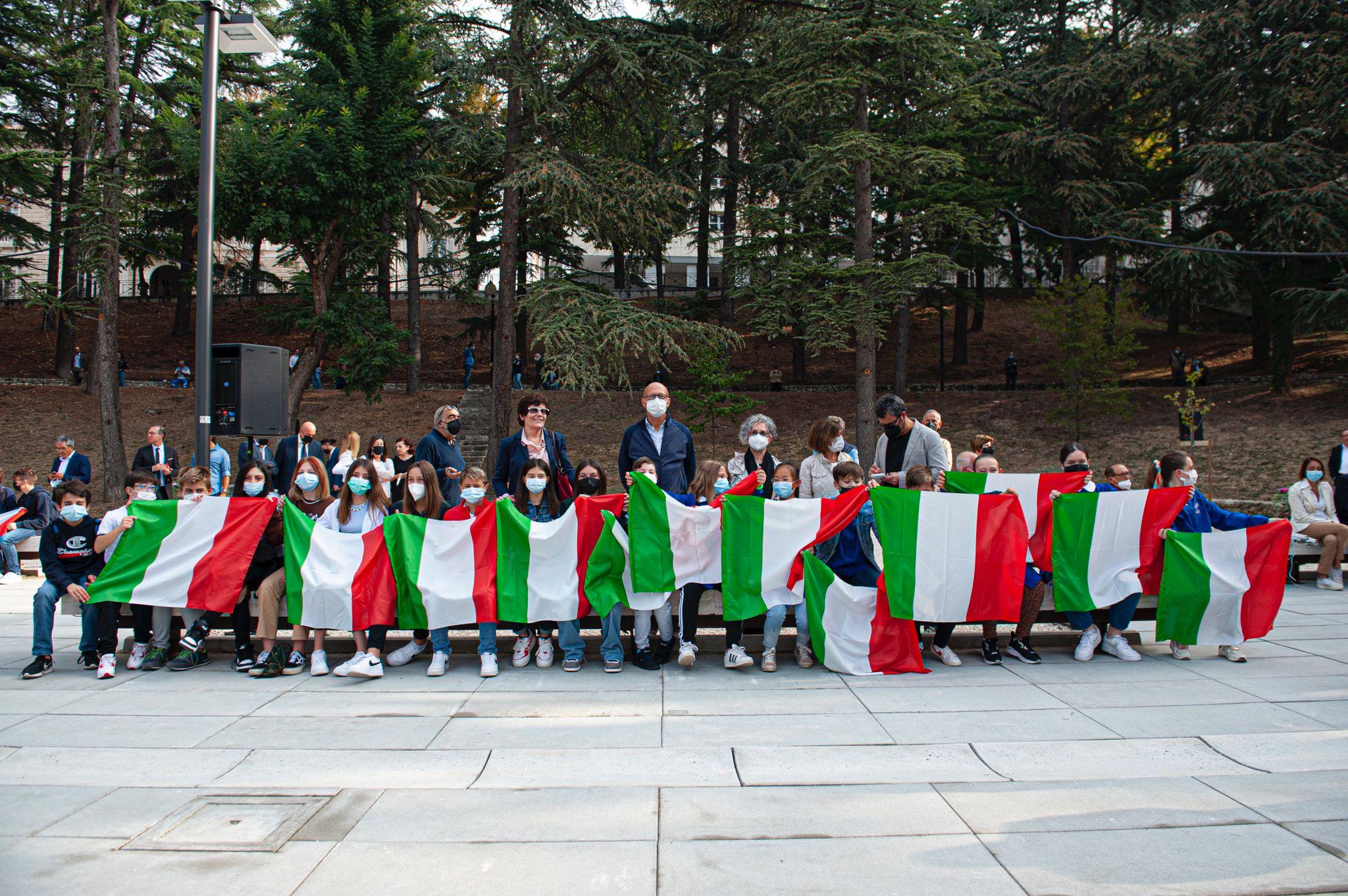 Mario Draghi a L'Aquila per l'inaugurazione del Parco della Memoria FOTO