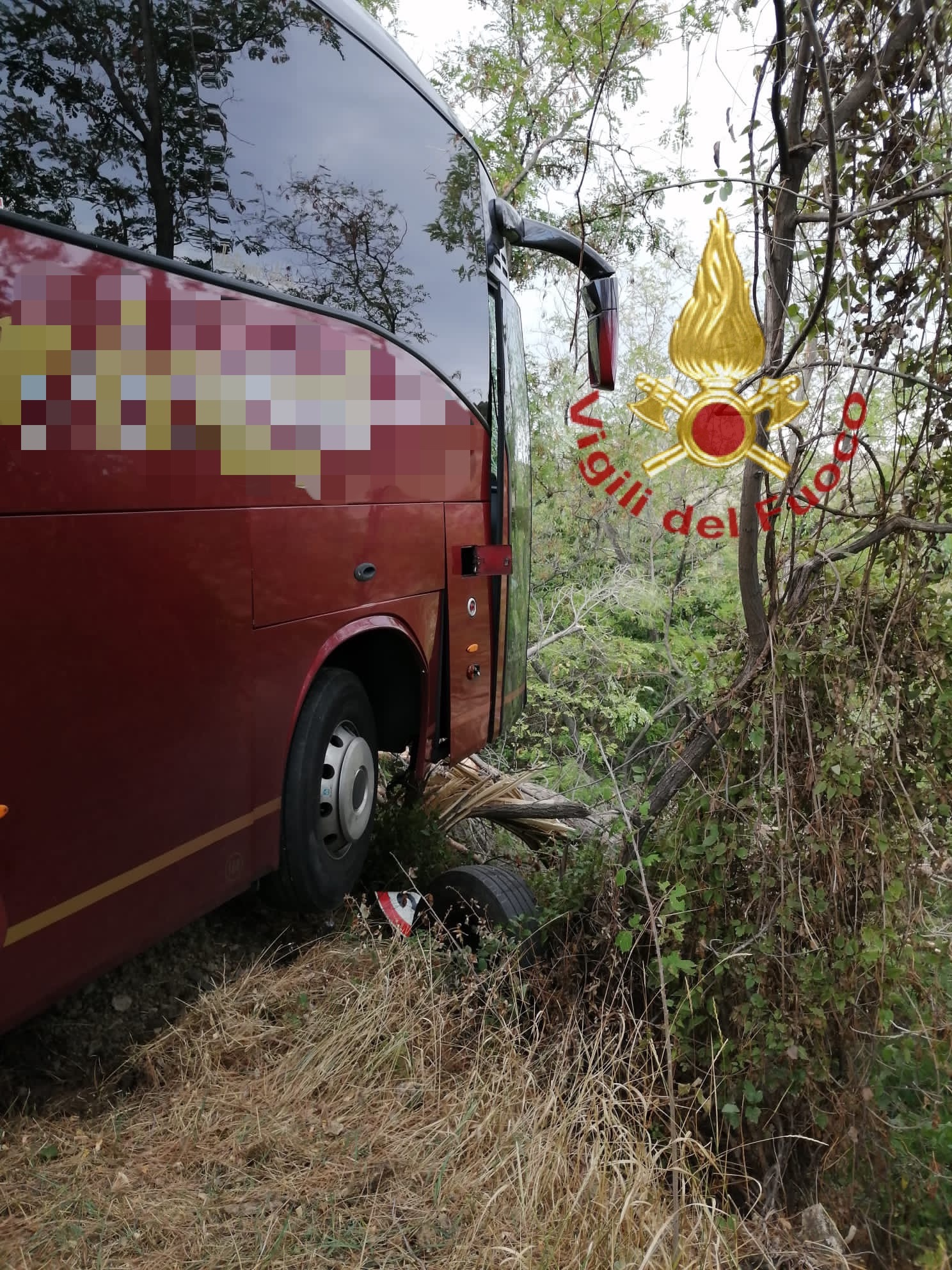 Vicoli, autobus fuoristrada: ferito l'autista-FOTO