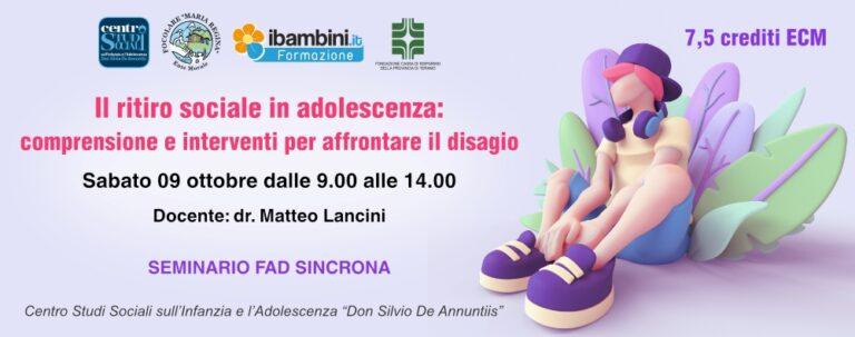 Pineto, disagio sociale dei ragazzi: seminario online del Centro Studi Don Silvio De Annuntiis