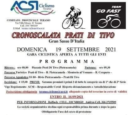 Ciclismo Amatoriale, Go Fast e Acsi Teramo in tandem per la Cronoscalata di Prati di Tivo