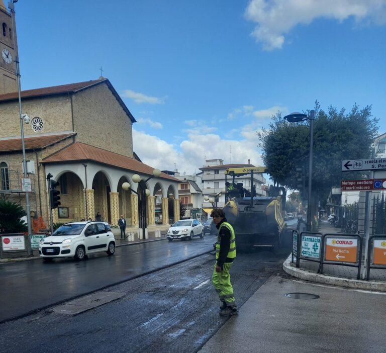 Martinsicuro, nuovo asfalto in via Roma: partiti i lavori