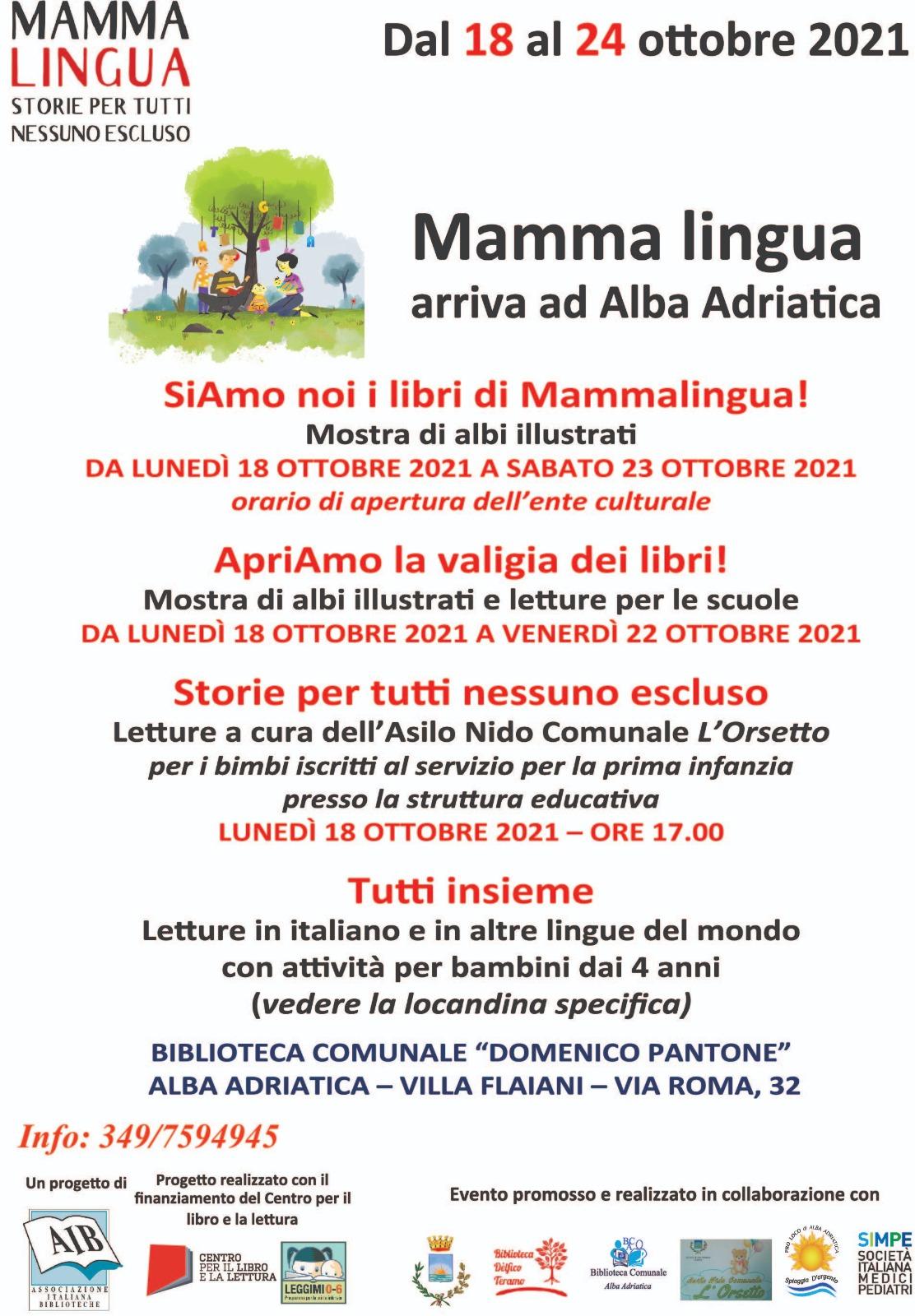 """Alba Adriatica, la biblioteca aderisce al progetto """"Mamma lingua. Storie per tutti, nessuno escluso"""""""